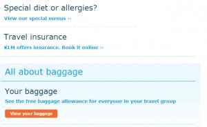 KLM Extra Items