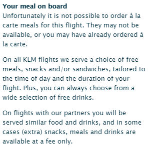 KLM Your meal on board
