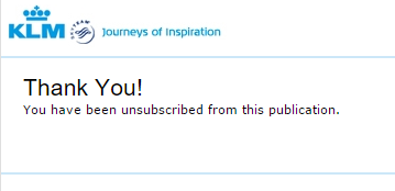 Unsubscribed from KLM Emails