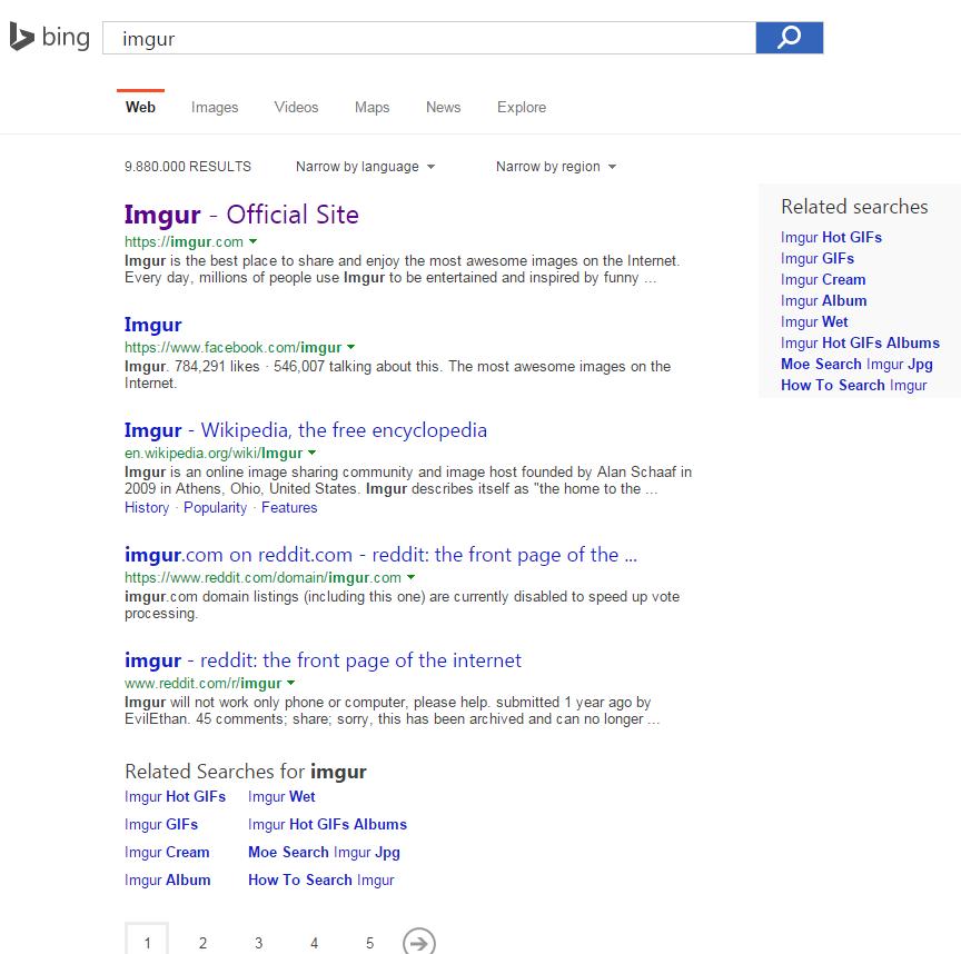 Bing shows 5 organic results