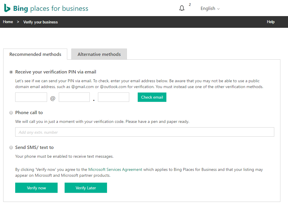 Bing places for business verification